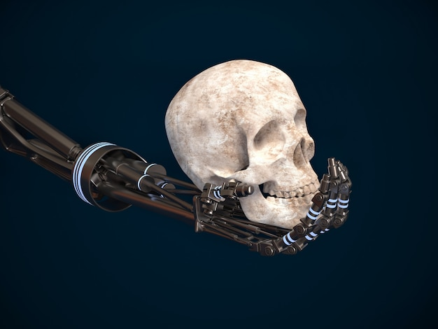 The concept of the uprising machines. hand of the robot and the human skull