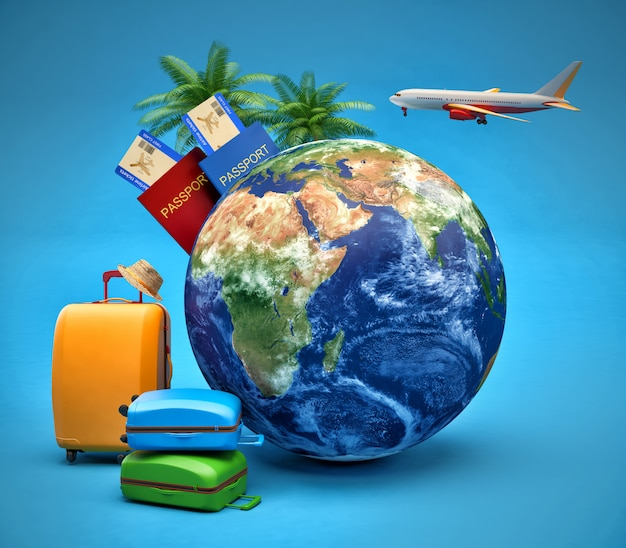 The concept of vacation and travel. earth globe with airline boarding pass tickets, luggage and airplane