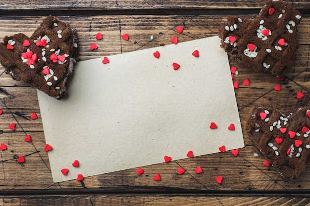 Concept valentine's day. chocolate chip cookies on a wooden table. greeting card. copy space