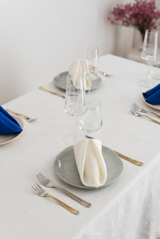 Concept of wedding decoration with linen napkins, selective focus image