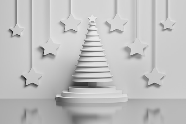 Concept white christmas tree on a pedestal decorated with rings and large stars hanging on the wall