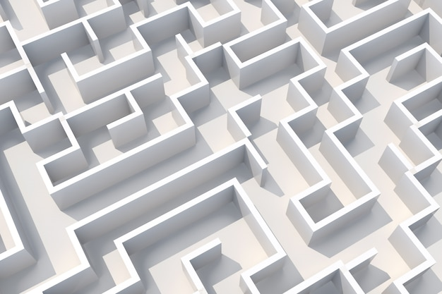 Concept white labyrinth wall top view. 3d illustration