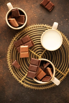 Concept of winter holiday piecies of chocolate and milk ready to prerare hot chocolate drink