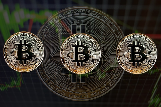 Concept with bitcoins and candle graph
