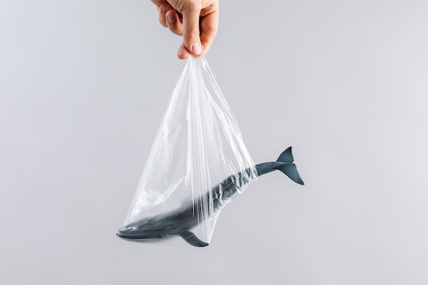 The concept of world environment day. the man's hand holds the blue whale in a plastic bag