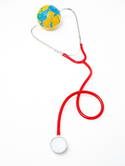 Concept world health day, red stethoscope