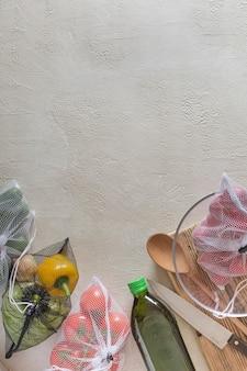 Concept zero waste -vegetables packed in reusable net