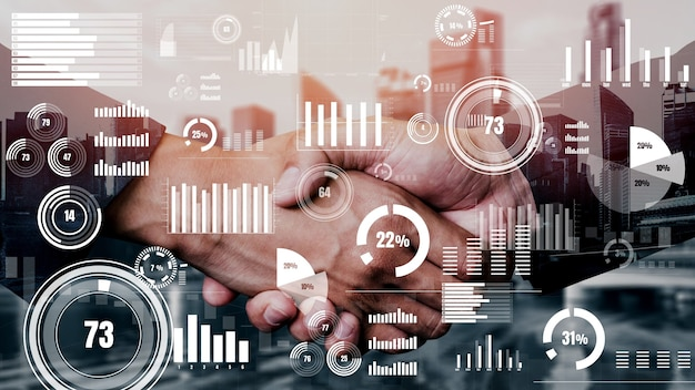 Conceptual business handshake with dashboard for financial data analysis