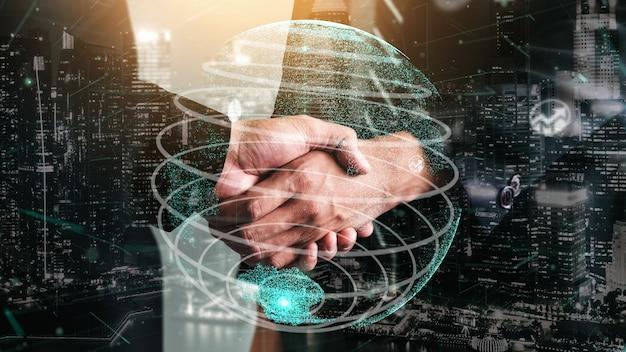 Концептуальное деловое рукопожатие с приборной панелью для анализа финансовых данных