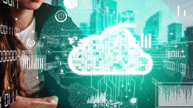 Концептуальные облачные вычисления и технология хранения данных для будущих инноваций Premium Фотографии