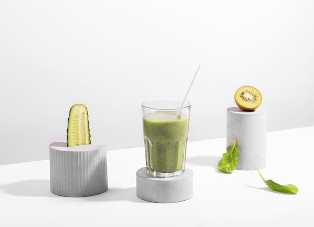 Conceptual creative still life with balancing fruits, such as mango,orange and papaya