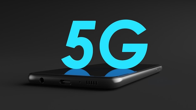 Conceptual design of 5g blue neon text over smart phone laying down on black background