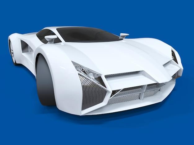 Концептуальный скоростной белый спортивный автомобиль. синий равномерный фон. блики и более мягкие тени. 3d-рендеринг.