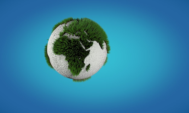 Conceptual image of earth globe with growing grass. concept of saving environment.