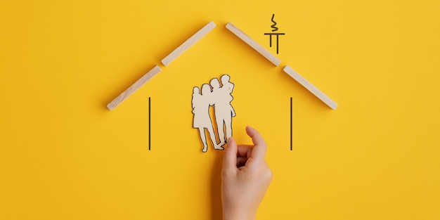 Conceptual image of family insurance or adoption