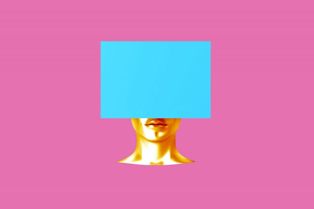 Conceptual image of a female head with a cube instead of a hairstyle 3d illustration