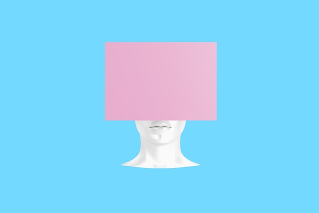 Conceptual image of a female head with a cube instead of a hairstyle