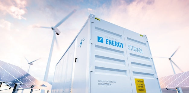 Conceptual image of a modern battery energy storage system 3d rendering