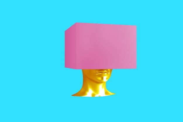 Концептуальное изображение женской головы с кубом вместо прически 3d иллюстрации