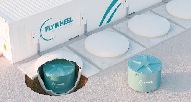 플라이휠 에너지 저장 시스템의 개념적 이미지입니다. 에너지 저장 시설이 있는 다중 플라이휠 장치. 3d 렌더링.