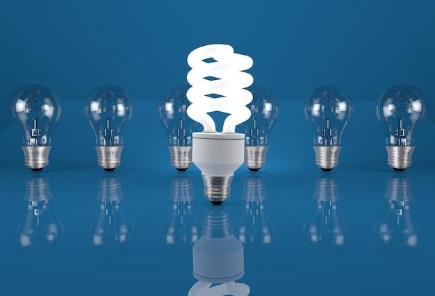 省エネのイメージ。白熱電球が並んだエコ電球。
