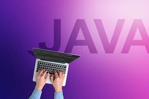 Conceptual java programming language with person with laptop.