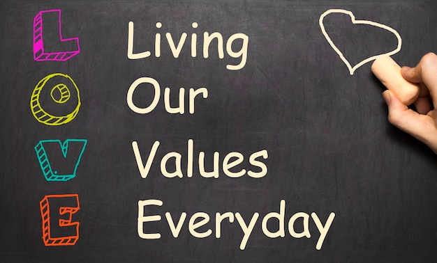 Conceptual love acronym written on black chalkboard blackboard. living our values everyday template