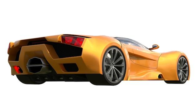 Conceptual orange racing cars. 3d illustration.