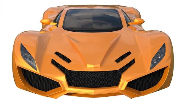 개념적 오렌지 경주 용 자동차입니다. 3d 렌더링.