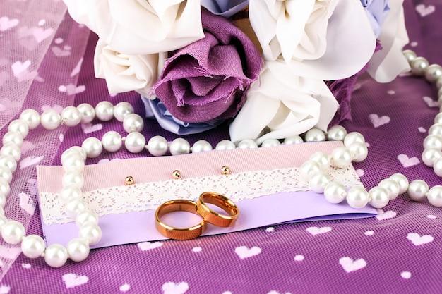Conceptual photo: wedding in violet color style