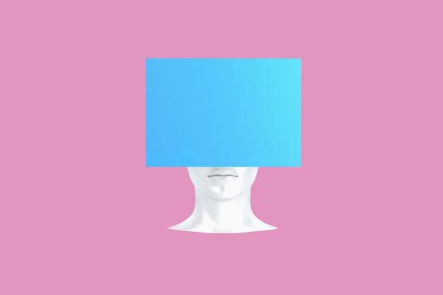 짓 눌린 문제가있는 여성 머리의 개념적 표현