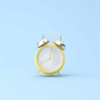 8時の黄色い目覚まし時計のコンセプトシーン、目覚め、就業日に幸せ。 3dレンダリング。