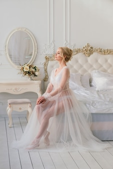 Conceptual wedding, the morning of the bride in the european style.