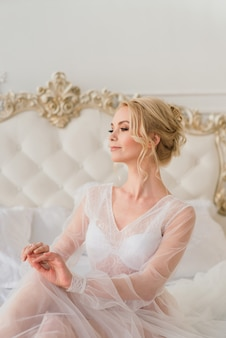 Conceptual wedding, the morning of the bride in the european style