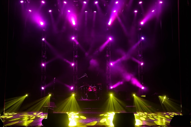 Concert light show, stage lights, colorful stage lights, light show at the concert.