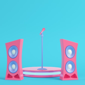 Concert stage with microphone and speakers on bright blue background