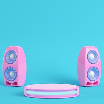 Concert stage with and speakers on bright blue background in pastel colors