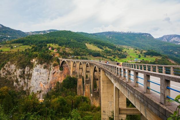Concrete arch bridge durdevitsa-tara across the tara deep river canyon in montenegro.