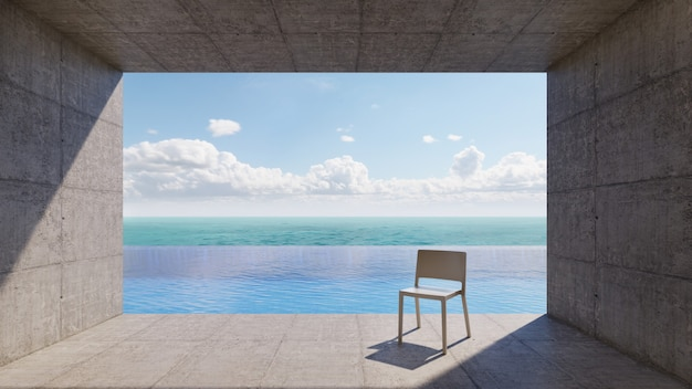 Concrete balcony infinity-edge pool with white chair