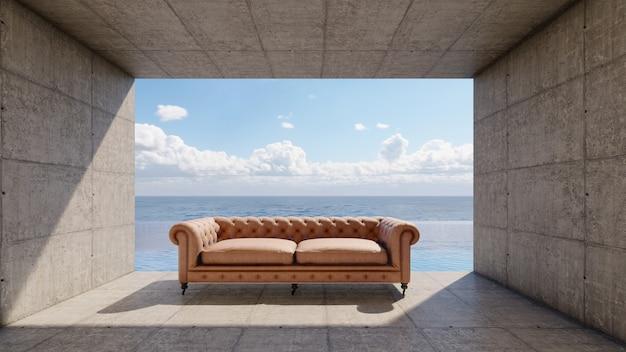 Concrete balcony infinity-edge pool with white classic sofa