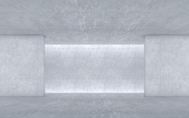 コンクリートの空白スペースの壁。抽象的な建築の壁。 3dレンダリング