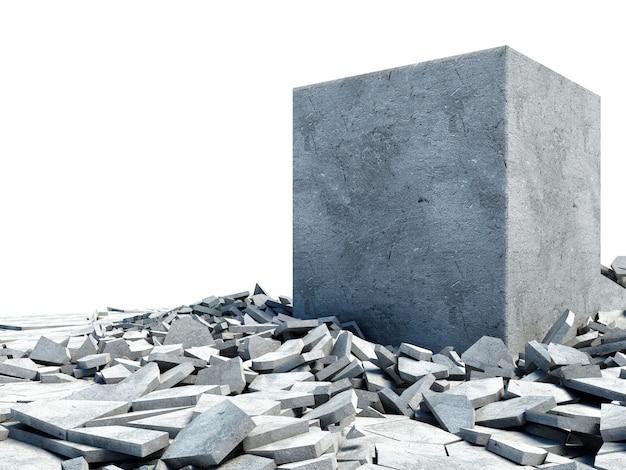 床から突破するコンクリートブロック
