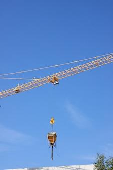 Concrete bucket after a crane