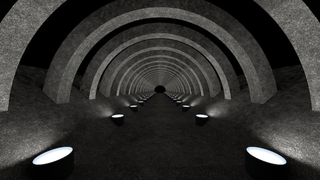 A concrete corridor template with lighting for use as a background for your design. 3d rendering.