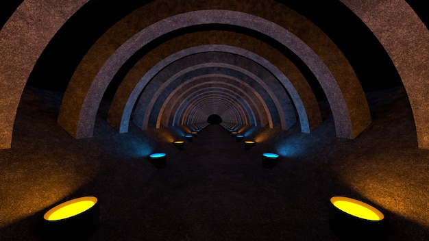 A concrete corridor with lighting