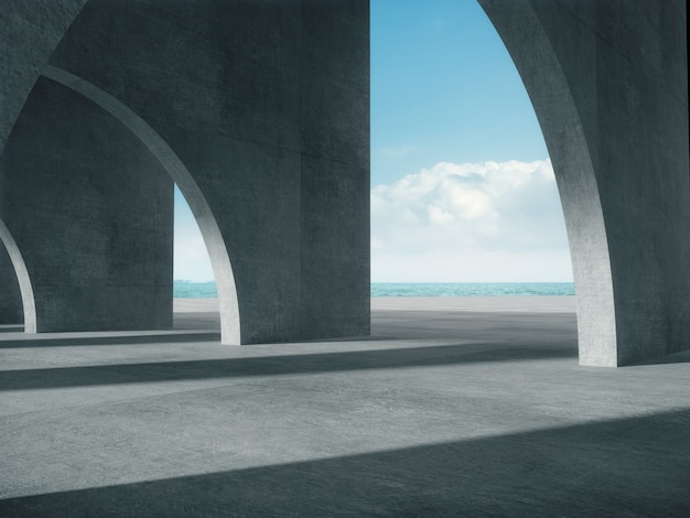 Concrete corridor with the sea space.