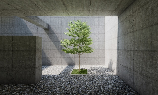 Concrete court interior with pebble floor, tree in center. 3d rendering