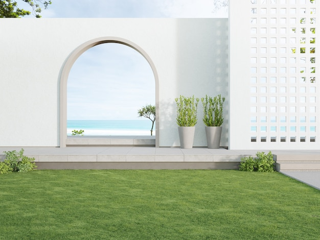 Concrete floor terrace and white ventilation block wall in luxury hotel or beach house
