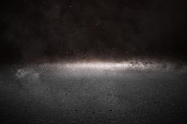 연기와 빛으로 콘크리트 바닥