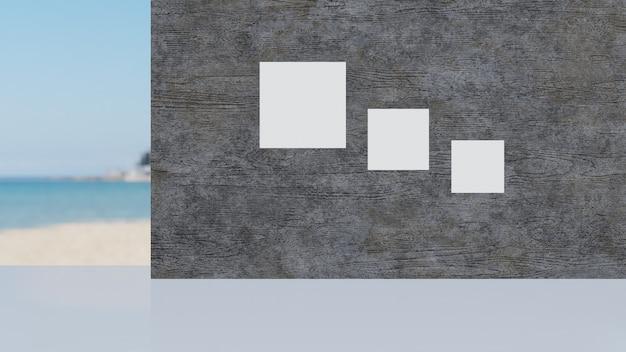 Бетонный серый пол и бетонная грязная стена.